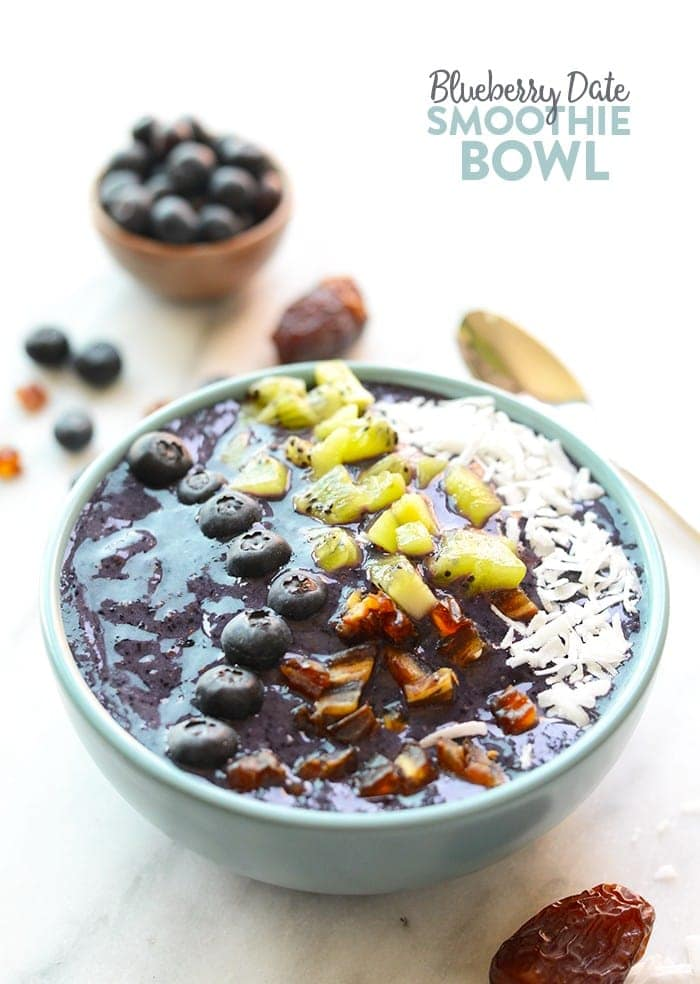 Smoothies are best eaten with a spoon! Make this thick and delicious Blueberry Date Smoothie Bowl and top it with all your favorite things for a quick breakfast or snack!