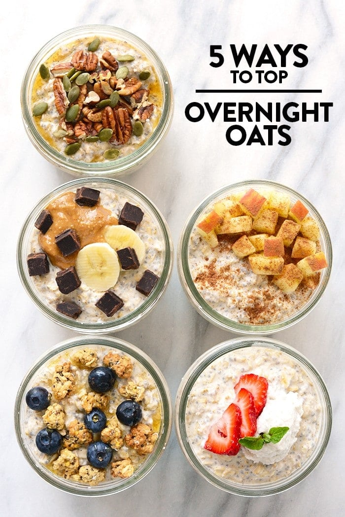 Overnight oats is a delicious time-saving breakfast. Here's 5 different ways that Team Fit Foodie tops their overnight oats + their go-to vanilla bean overnight oat recipe!