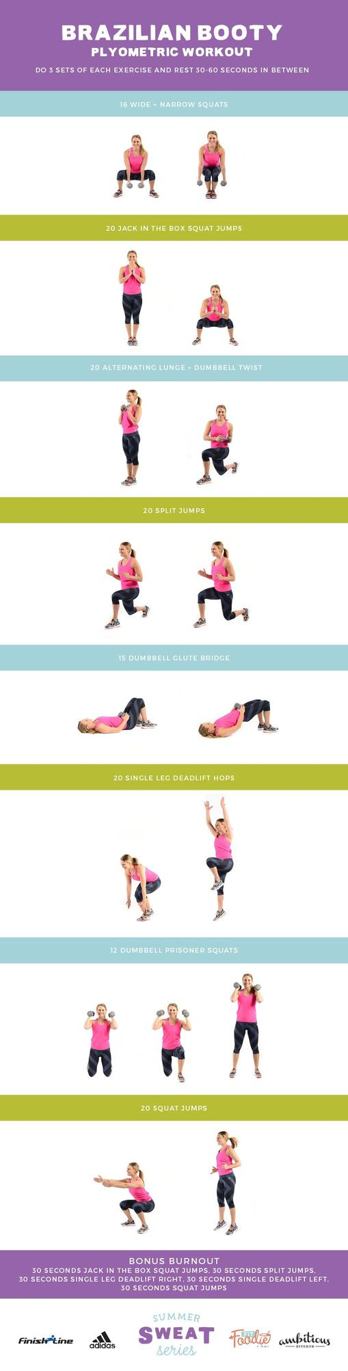 This Brazilian Booty Workout mixes lower body strength training with plyometric movements for the ultimate lower body burn!