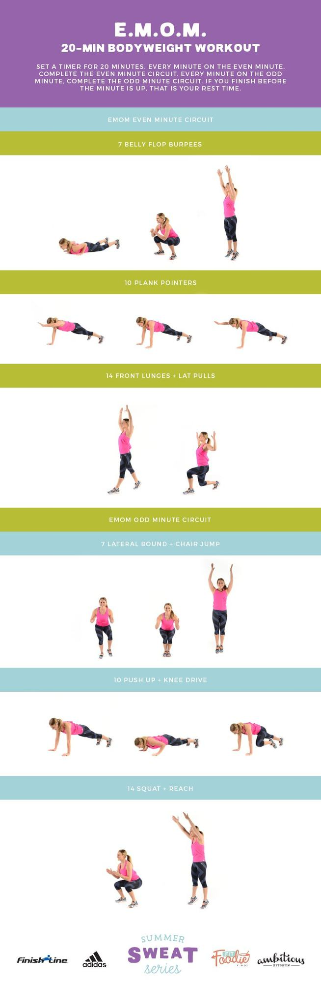 This EMOM (Every Minute On the Minute) 20-Minute Workout requires only your bodyweight and will get your heart pounding!