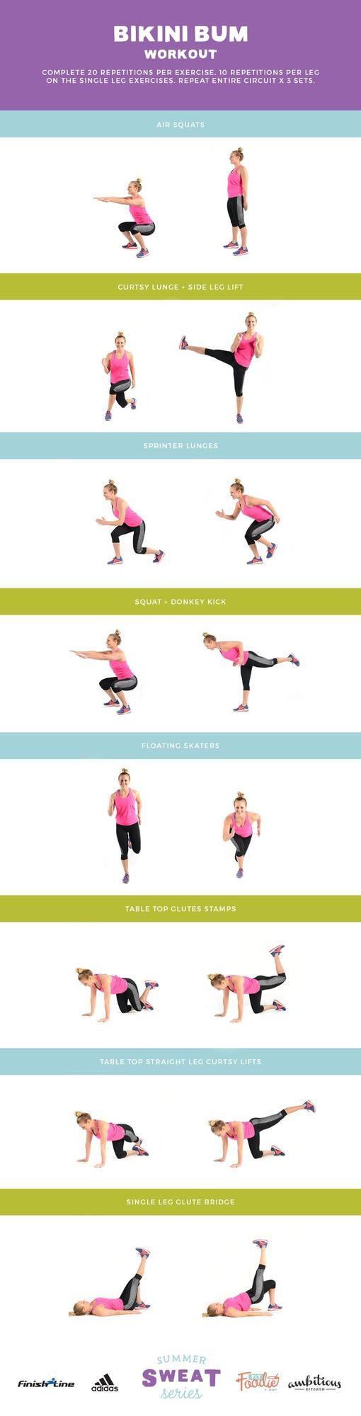 Do this Bikini Bum Workout anywhere at anytime! All you need is your bodyweight and about 30 minutes.
