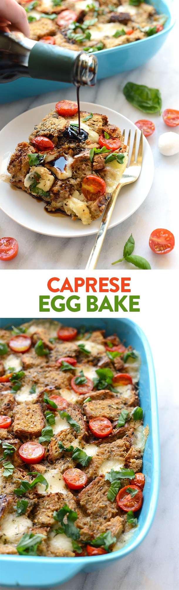This Caprese Egg Bake recipe is a fusion between your classic egg bake and caprese salad making it the ultimate savory breakfast (lunch or dinner!).