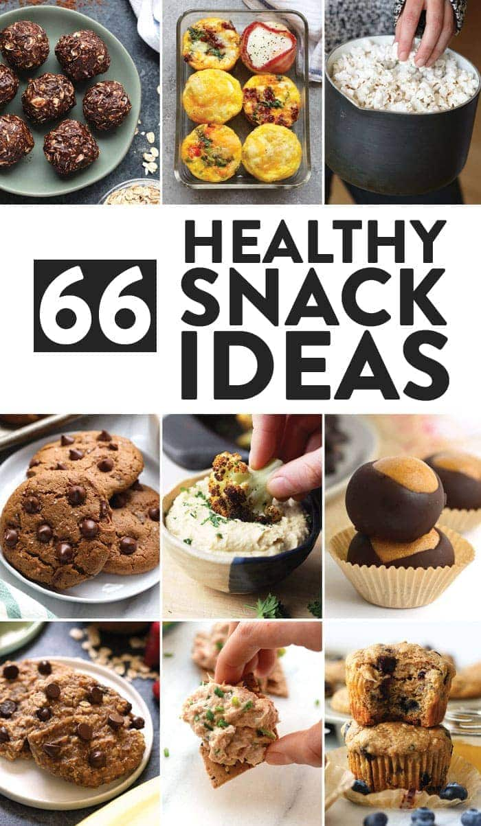 Image collage of healthy snack ideas