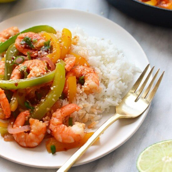 kung pao shrimp with rice