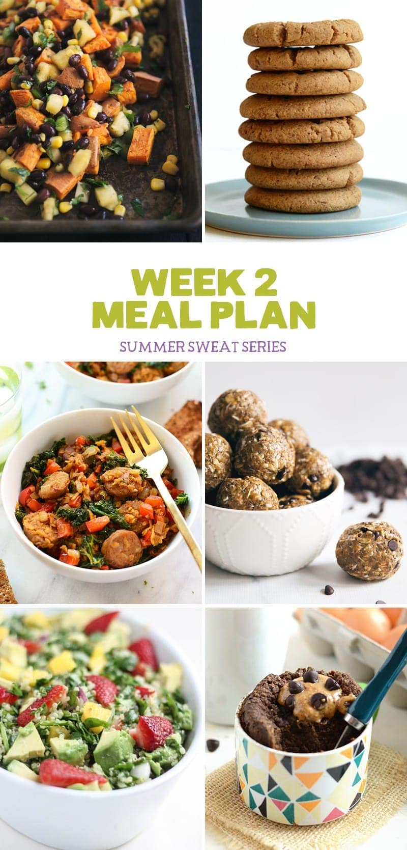 Check out the week 2 meal plan of The Summer Sweat Series hosted by Fit Foodie Finds and Ambitious Kitchen!