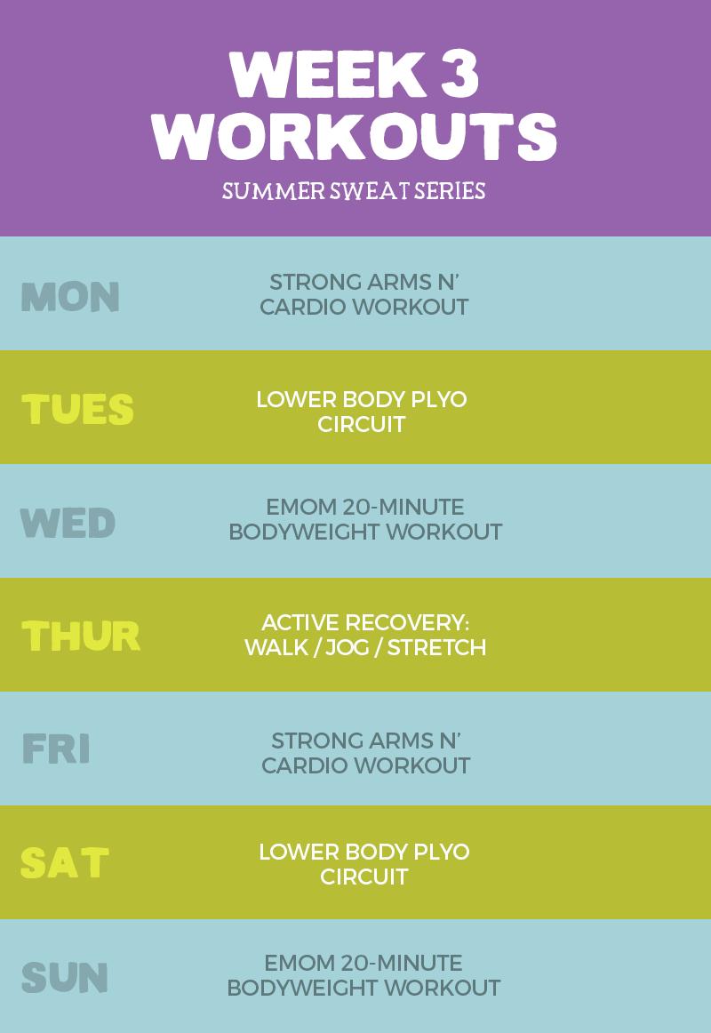 2016 Summer Sweat Series Fitness Plan Week 3