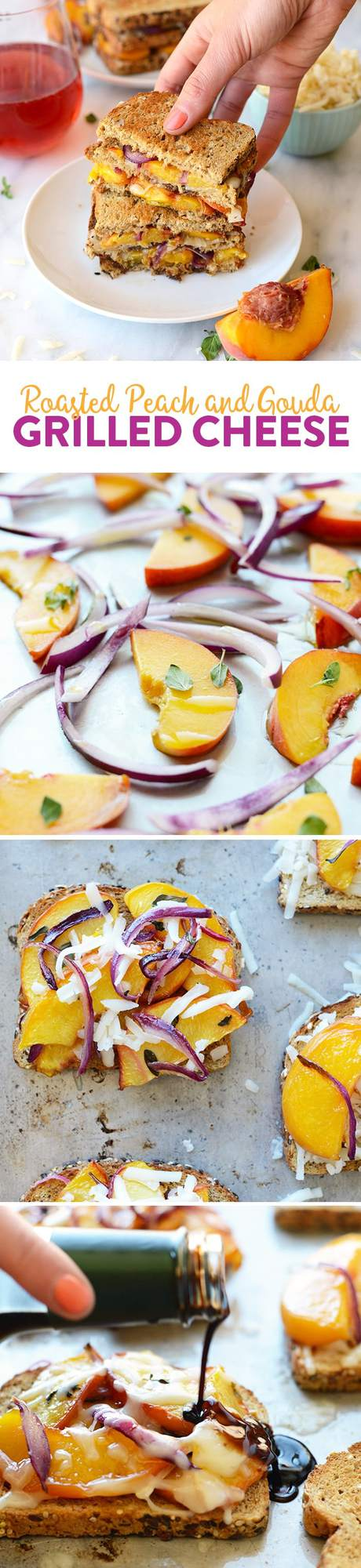 Get fancy with your grilled cheese and add some delicious roasted peaches with gouda cheese and a drizzle of aged balsamic in between some seedy bread!