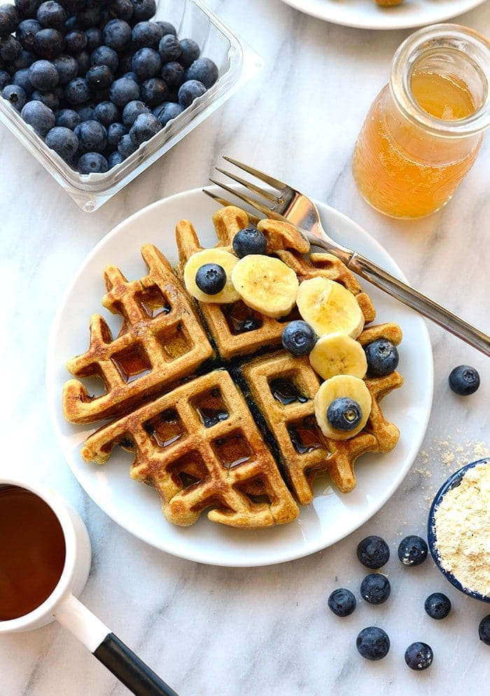 healthy blueberry waffle on a plate