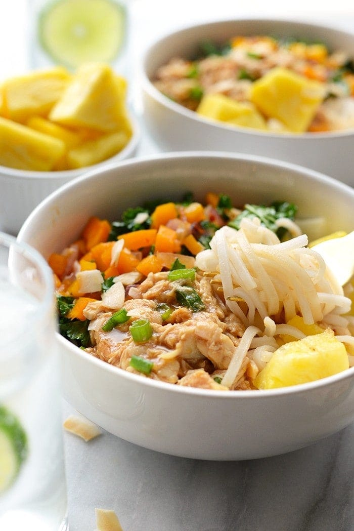 Get your meal prep on with these delicious Hawaiian Chicken Noodles Bowls made with shredded chicken, tons of veggies, and rice noodles!