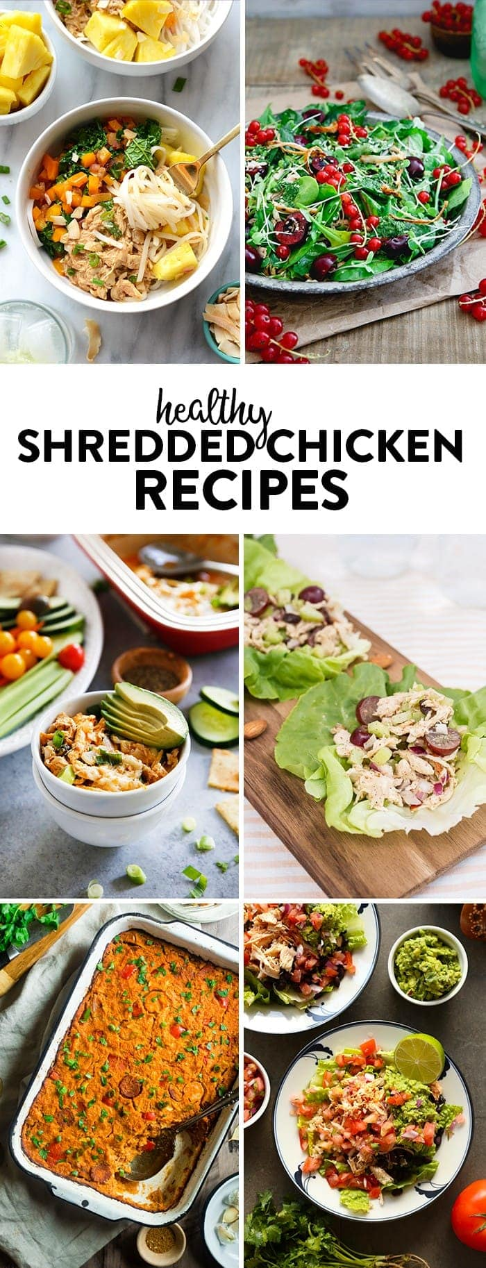 Looking for your next healthy dinner recipe featuring shredded chicken? Add one of these to your menu for the week!