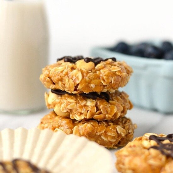These Healthy Peanut Butter No Bake Cookies are made with just a few whole ingredients making them gluten-free and vegan. Whether you call these No Bake Peanut Butter Oatmeal Cookies or Peanut Butter No Bakes, this is a healthier recipe for a cookie classic!
