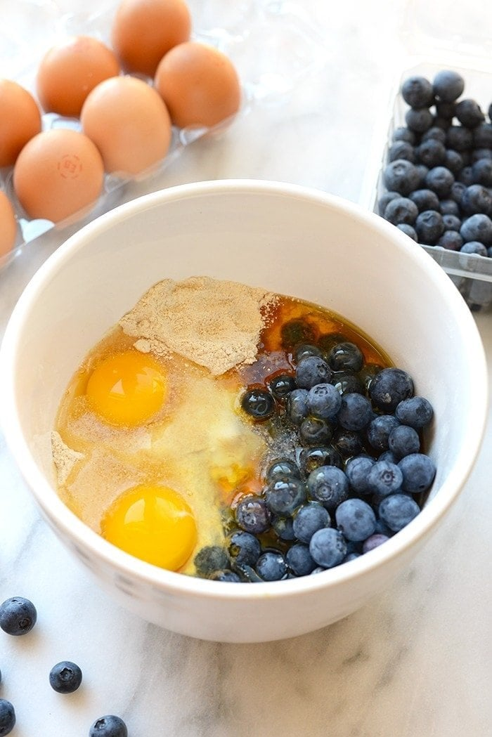 Blueberry breakfast cake in a bowl