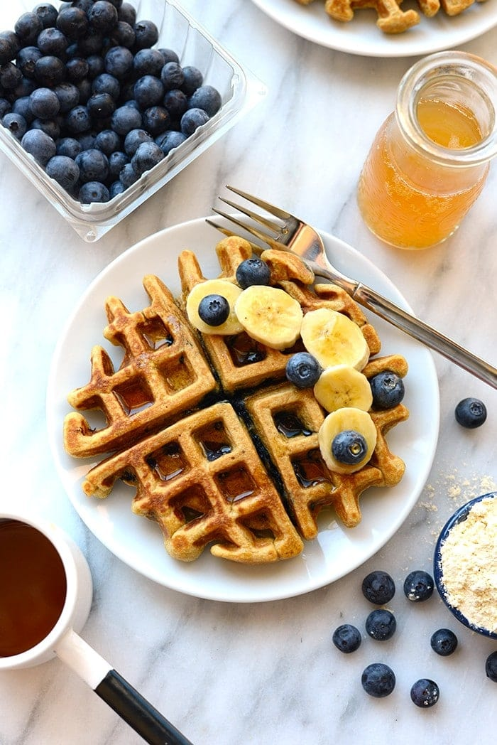 healthy waffle with blueberries and banana slices