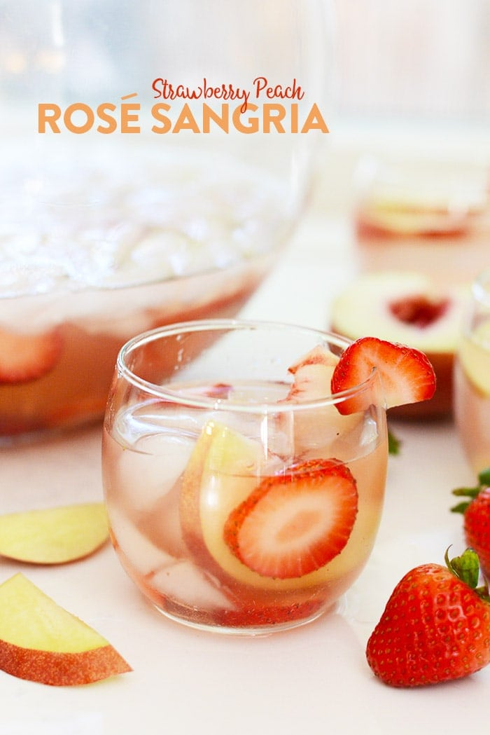 Make this Strawberry Peach Rosé Sangria at your next dinner part for a refreshingly fruit adult beverage!