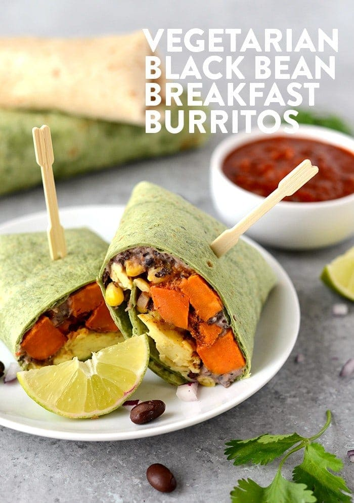 Get your meal prep on and make these Vegetarian Black Bean Breakfast Burritos! They're packed with 16g protein per serving AND they're freezer friendly!