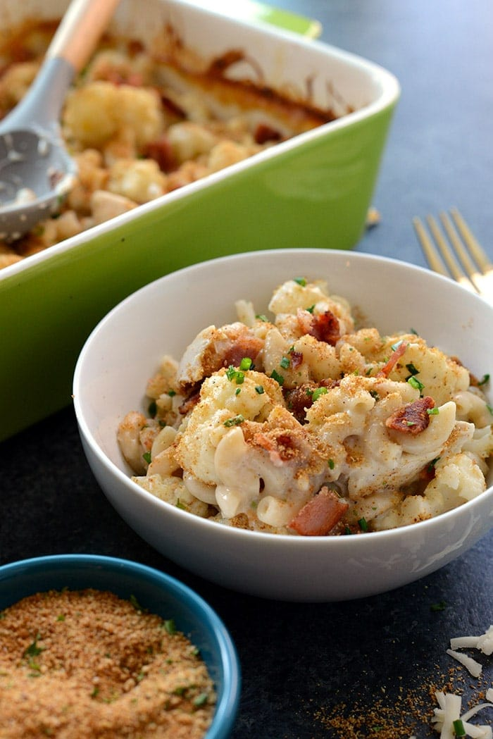 This recipe makes healthy comfort food a real thing! Make this Cauliflower Mac n' Chicken Casserole with ancient grain pasta for the most epic meal the entire family will love!