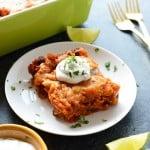chicken enchilada casserole on plate