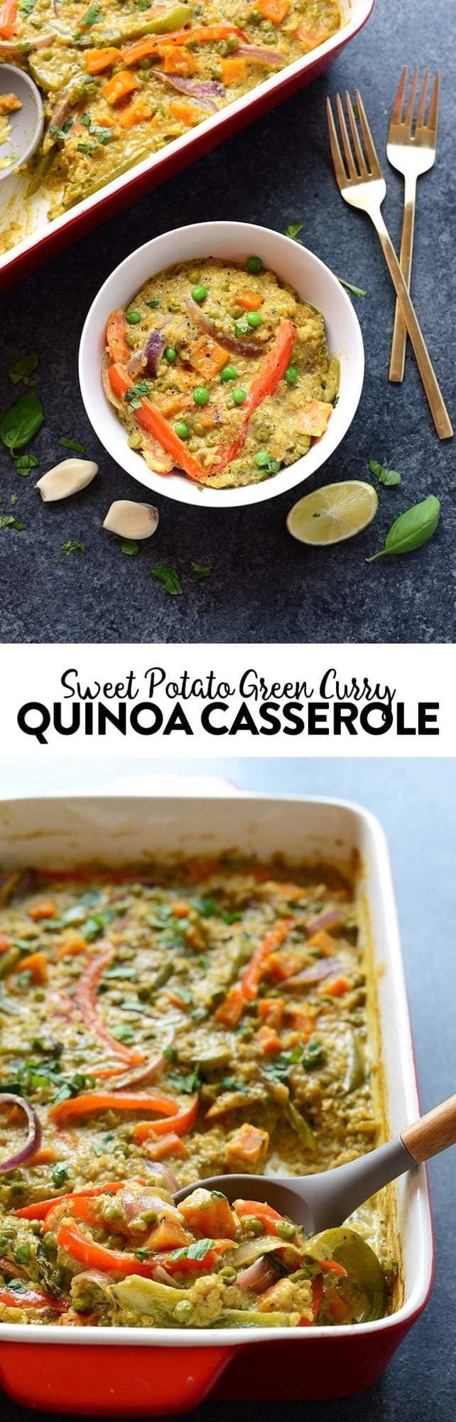 Curry just got even easier and more delicious than ever! In less than an hour you can have this delicious Sweet Potato Green Curry Quinoa Casserole ready for the entire fam.