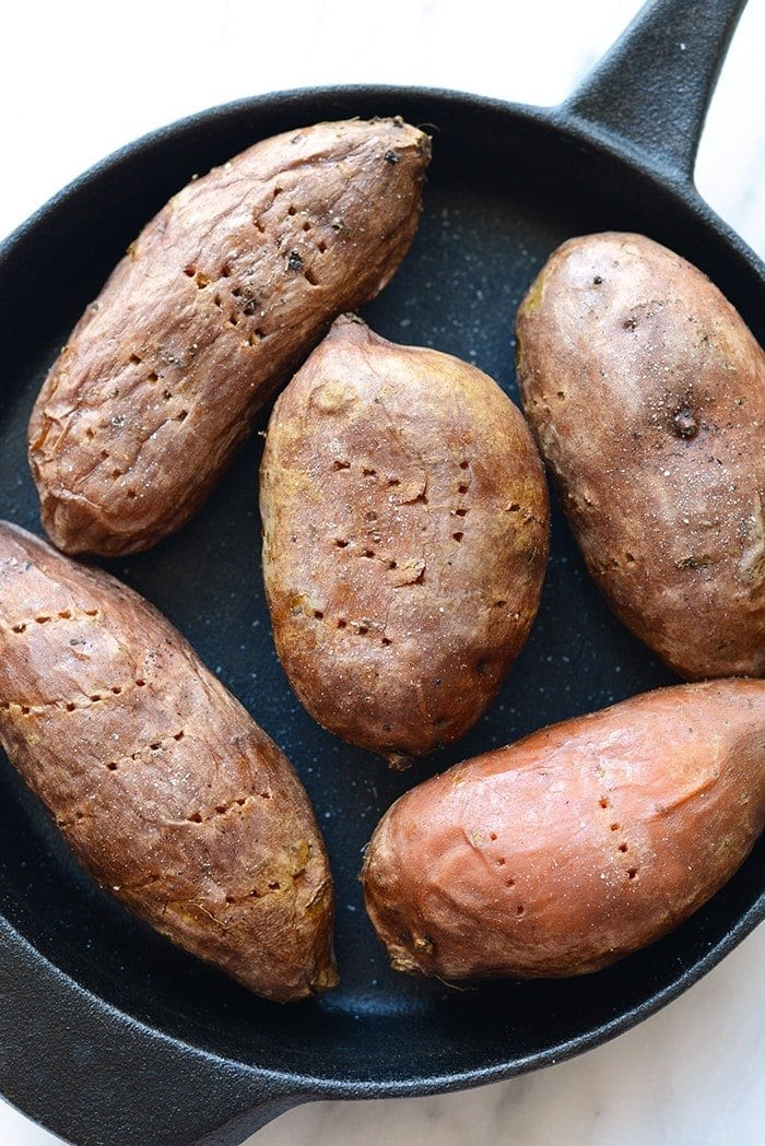 Step your baked potato game up a bit by adding stuffed sweet potatoes to the menu. They are a great source of vitamin B AND potassium. And? They taste pretty good too!