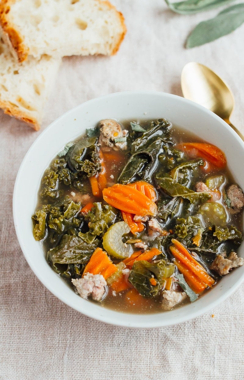 Slow Cooker Sausage Kale Soup from Eating Bird Food