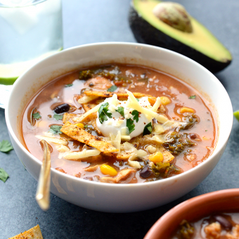 Crock-Pot Chicken Tortilla Soup with Kale