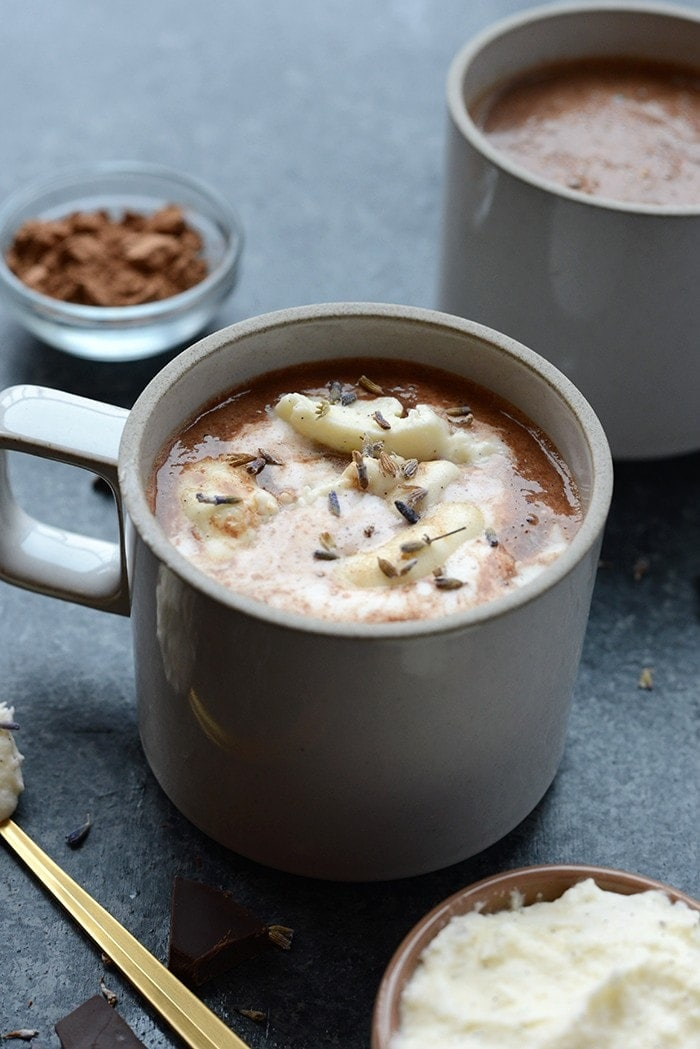 There's nothing better than a hot cup of cocoa on a chilly fall day! Give this Healthy Honey Lavender Hot Chocolate recipe a try; you'll love every sip.