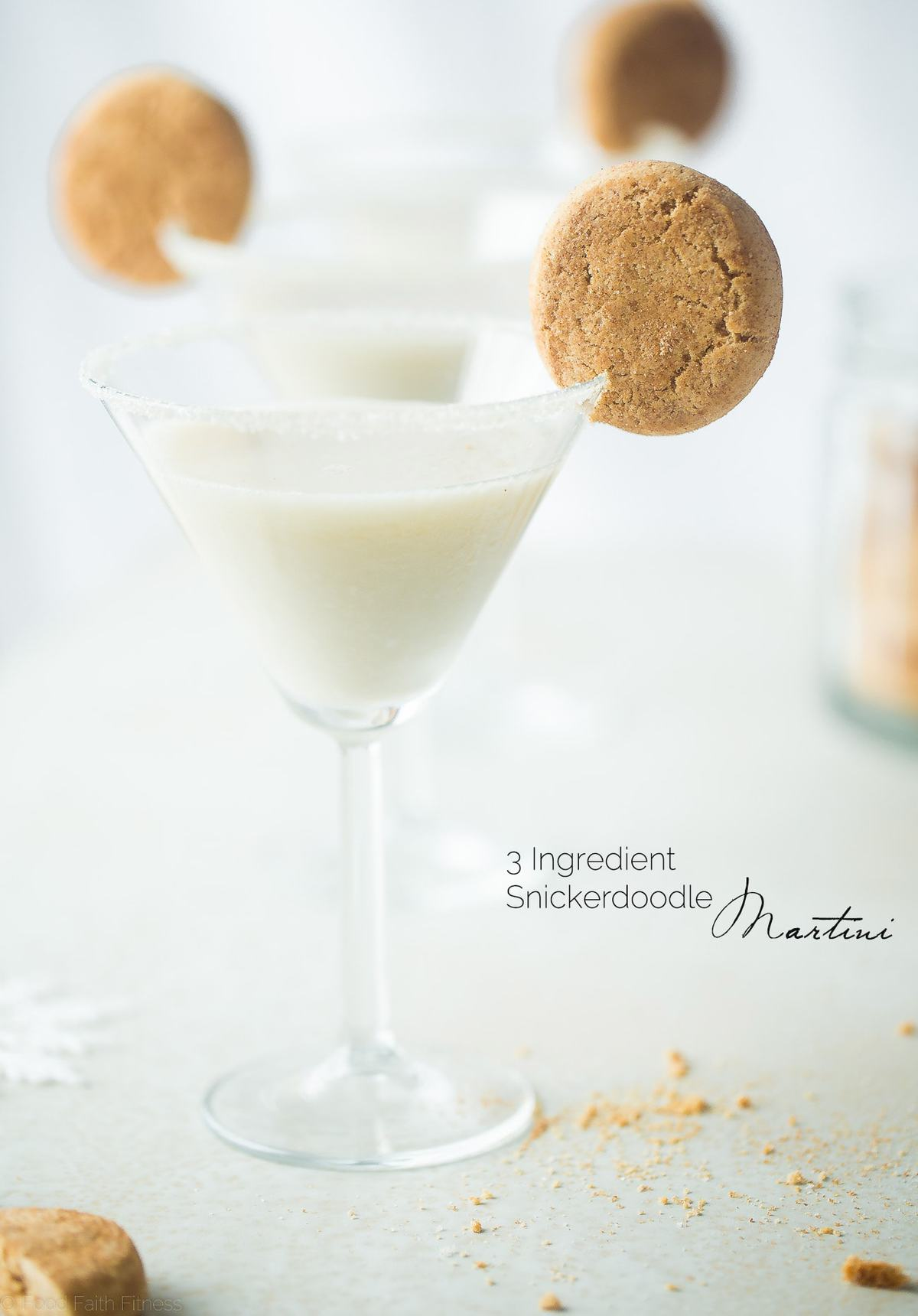 This easy, 3 ingredient martini tastes like a snickerdoodle cookie! It's a creamy, healthier and dairy-free cocktail that is perfect to serve on Christmas!