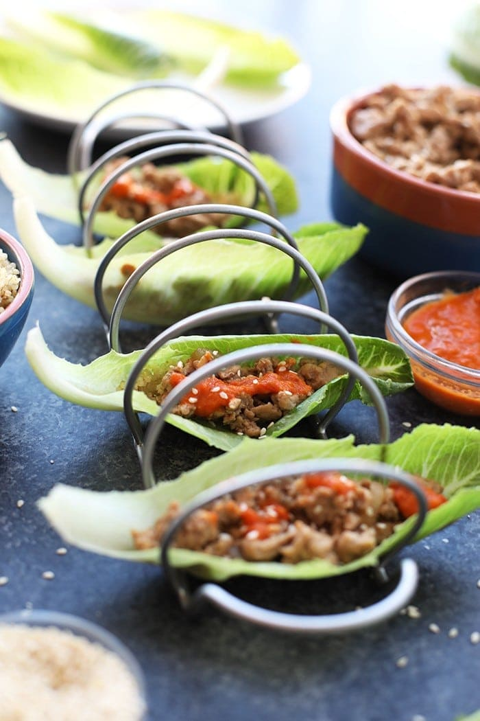 korean lettuce wraps in taco holder