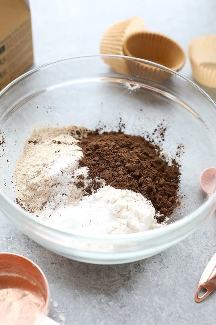 healthier chocolate cupcake ingredients in a bowl