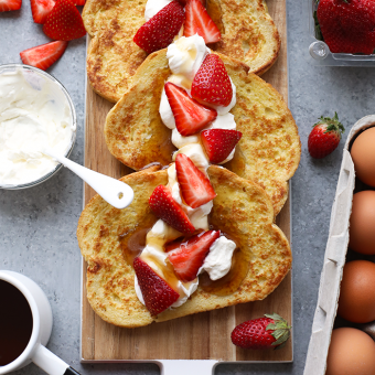 VIDEO: Strawberries and Cream Sourdough French Toast for Two