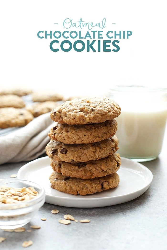Healthy oatmeal cookies stacked on a plate.
