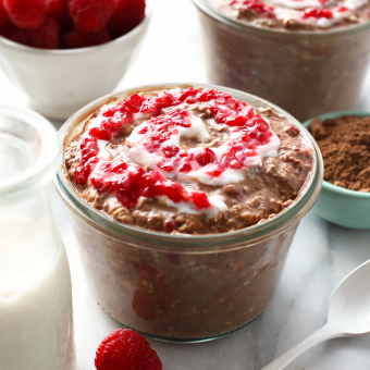 Chocolate Raspberry Cheesecake Overnight Oatmeal