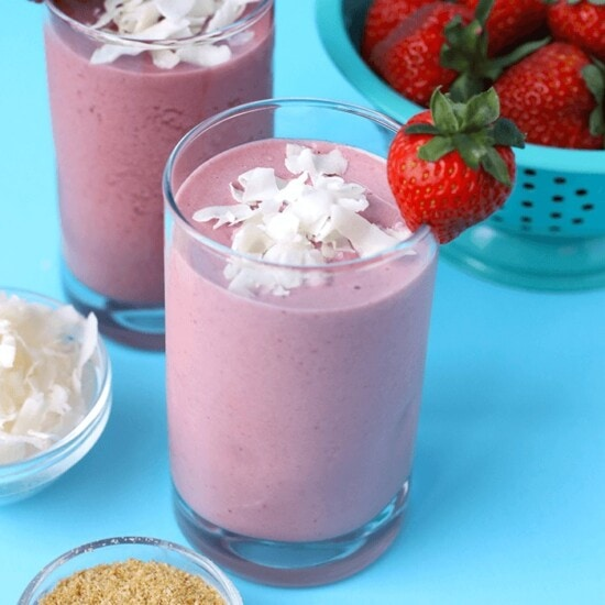 Strawberry Coconut Protein drinks in cups