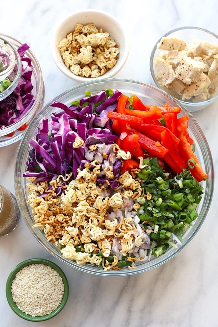 Chicken salad ingredients in a bowl