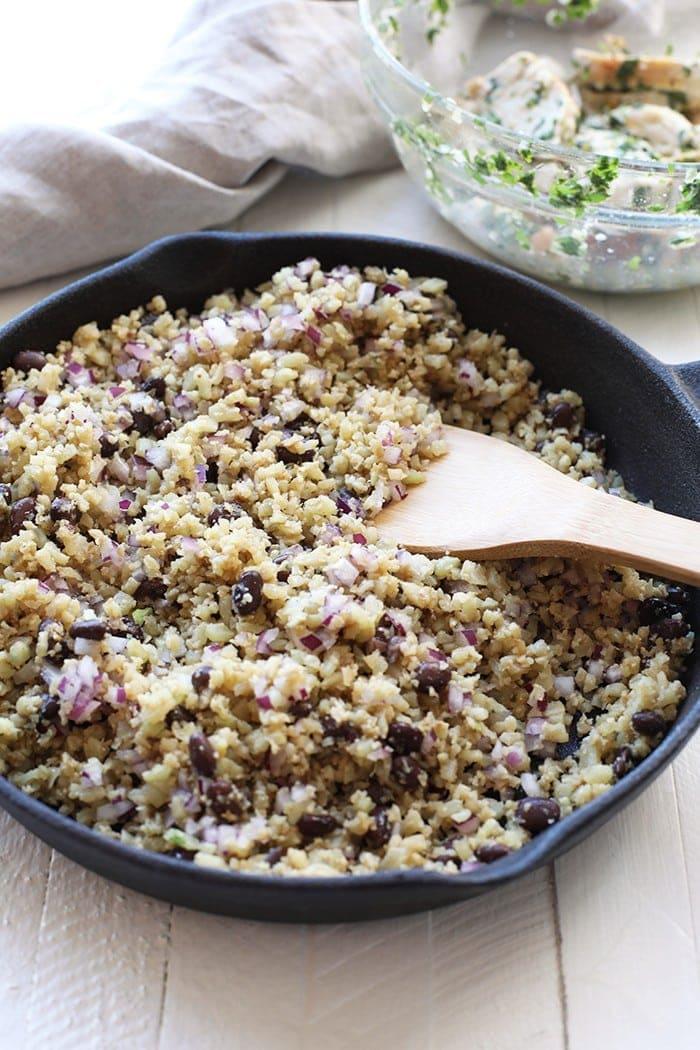 Cauliflower rice in a skillet