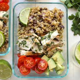 Meal prepped cilantro lime chicken with cauliflower rice
