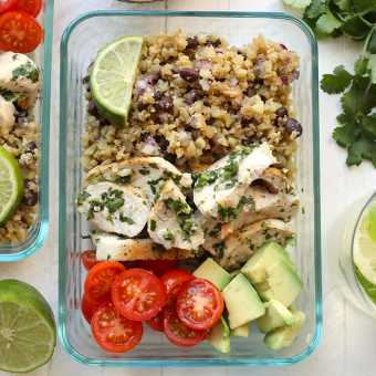 VIDEO: Meal Prep Cilantro Lime Chicken with Cauliflower Rice