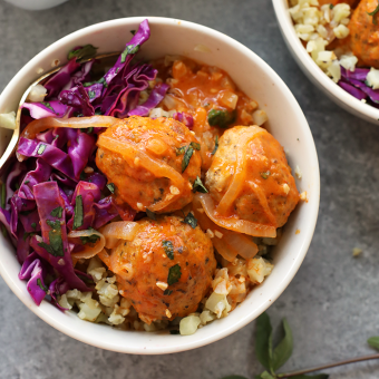 Red Coconut Curry Meatballs with Cauliflower Rice