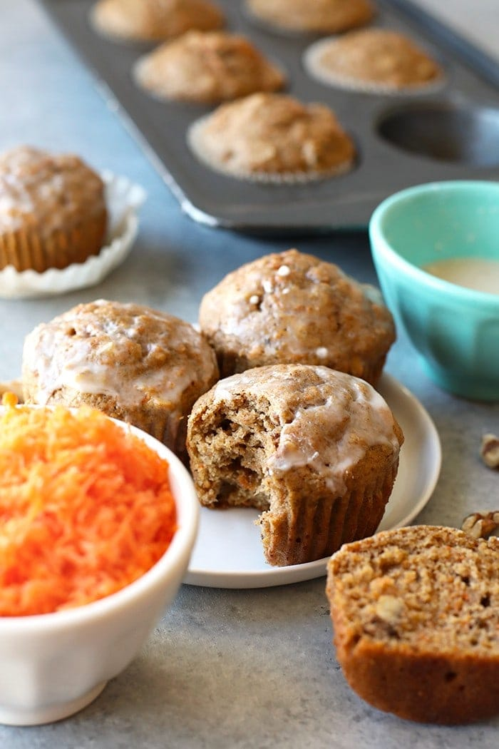 healthy carrot cake muffins with glaze