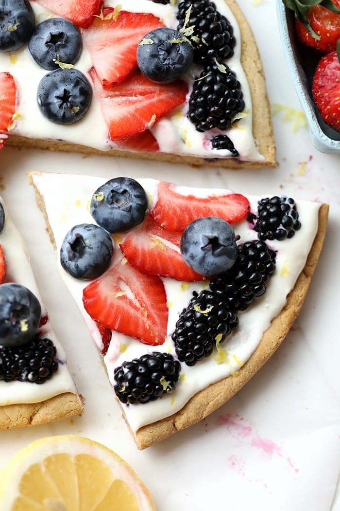 a slice of healthy fruit pizza