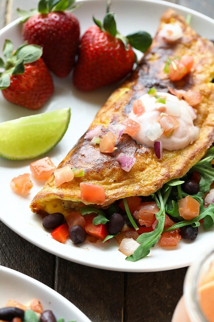 Get all your veggies in for the day at breakfast with this Veggie-Packed Black Bean Omelette! With this meal, you'll get tons of plant-based and egg protein, too!