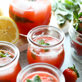 VIDEO: Homemade Strawberry Basil Lemonade with Honey