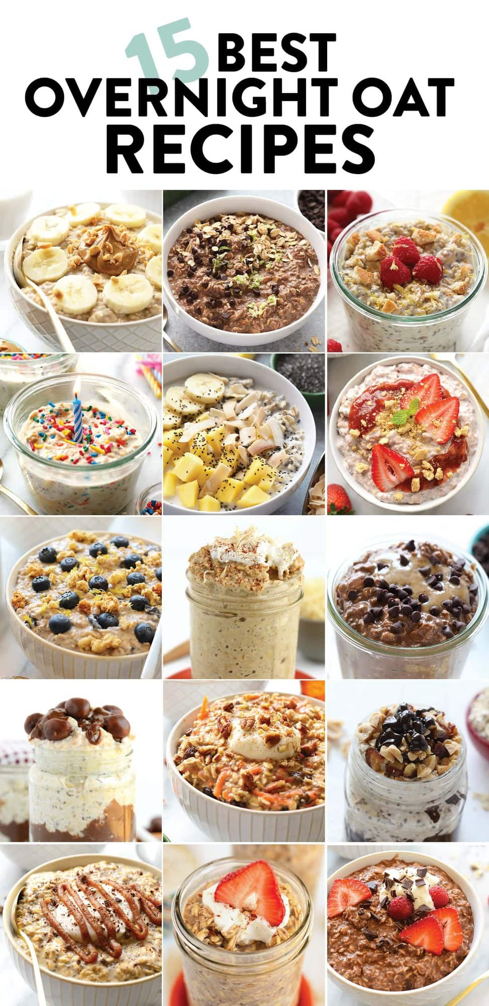 A photo collage of overnight oatmeal recipes