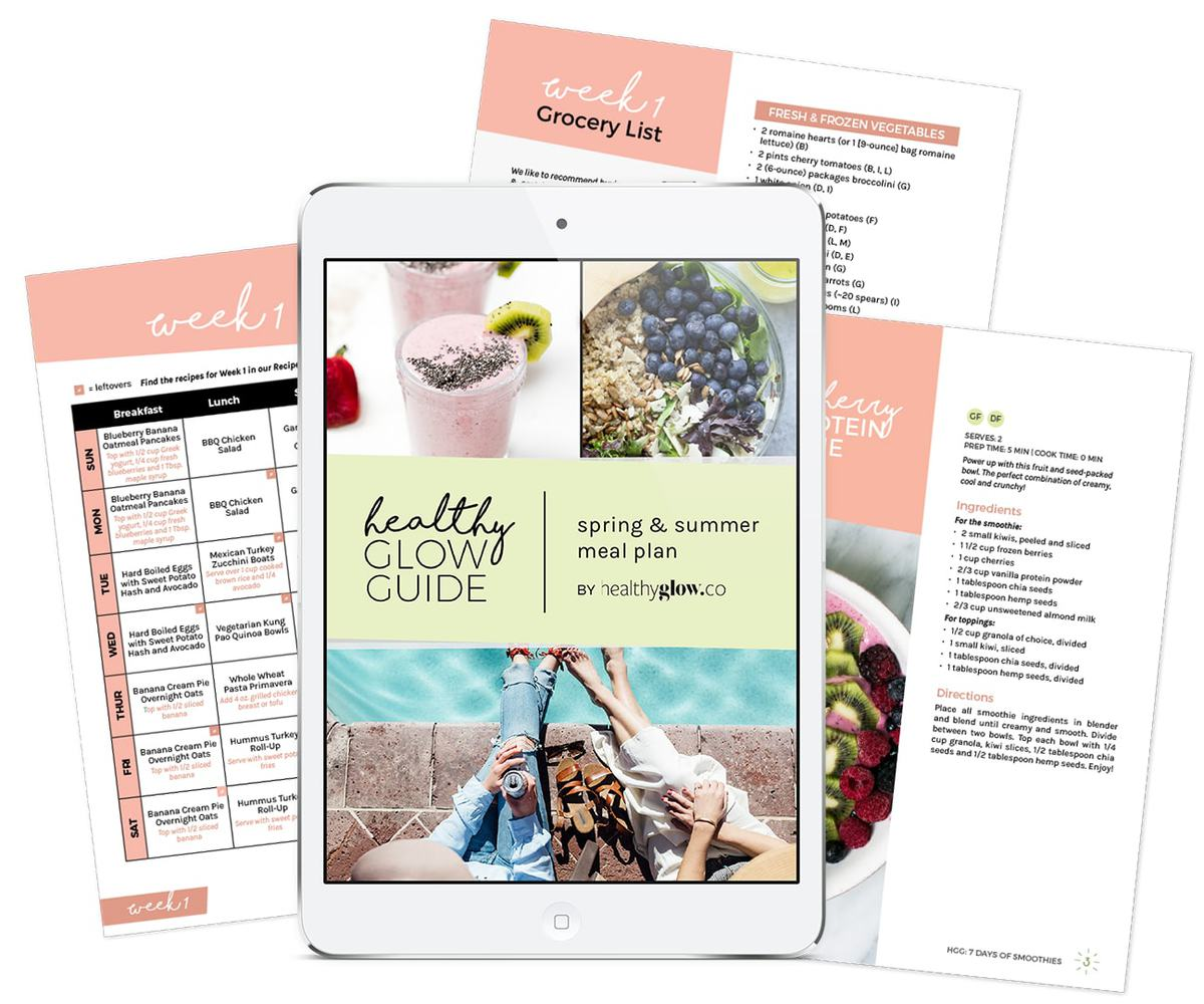 Looking for a healthy summer meal plan? The Healthy Glow Guide features satisfying salads, grilling made easy, daily treats and more.
