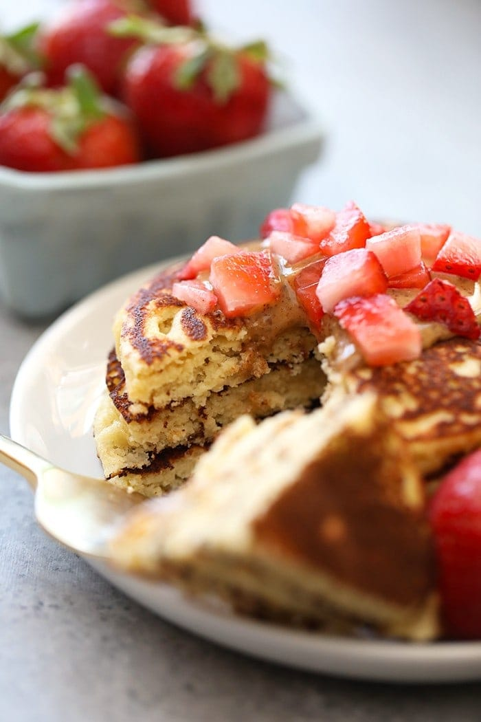 almond flour pancakes with strawberry slices