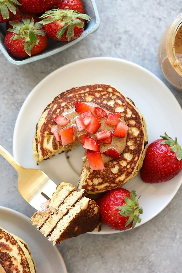 top view of Almond Flour Banana Pancakes with strawberry slices