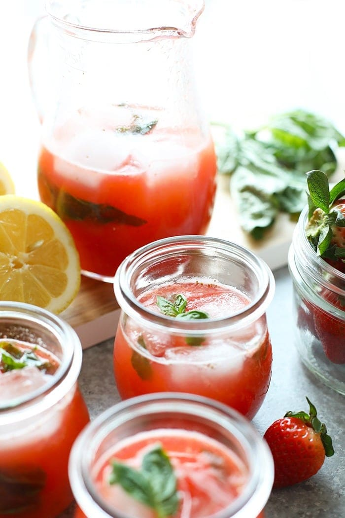 homemade strawberry basil lemonade in glasses ready to be enjoyed