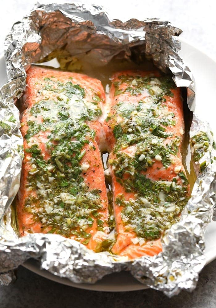 Salmon in a foil pack on the grill
