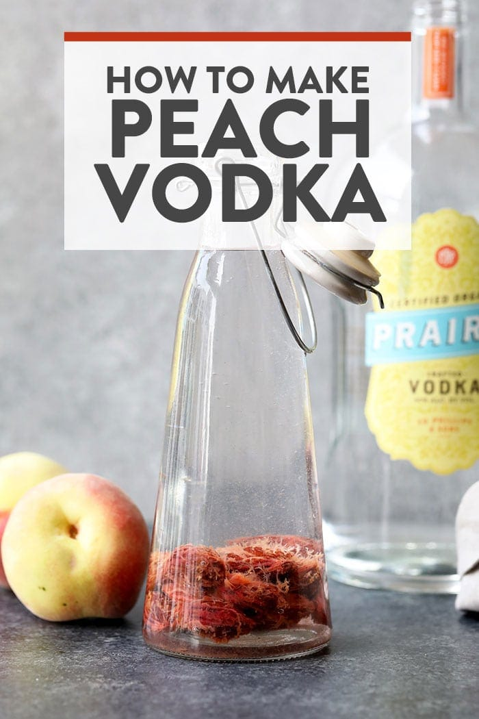 peach infused vodka in a bottle