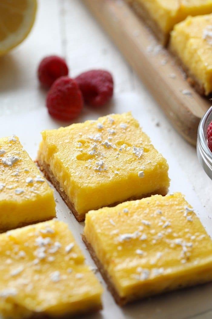 4 gluten free lemon bars with raspberries